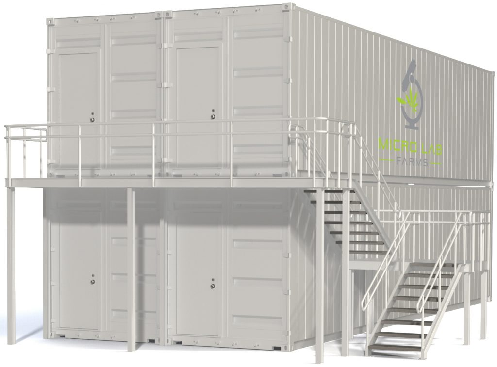 4 stacked growpods with stairs and MLF logo